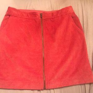 Corduroy front zip skirt